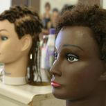 Mannequin heads with different hairstyles