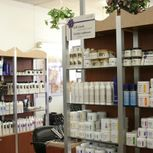 Shelves of beauty products